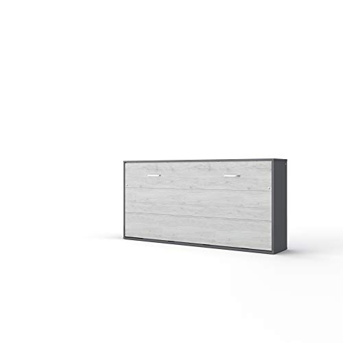 Invento Maxima House Schrankbett, Wandklappbet 90x200 horizontal, Farbe: Grau Matt/Monaco Eiche, Wandbett 90x200, Murphy Bed, Funktionsbett