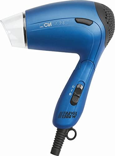 Reisefön Klein Klappbar mit Diffusor Haartrockner Reise (Haarfön mit Diffuser Sportfön 2 Temperatur-/Leistungsstufen 1300 Watt Blau inkl. Klarsichttasche)