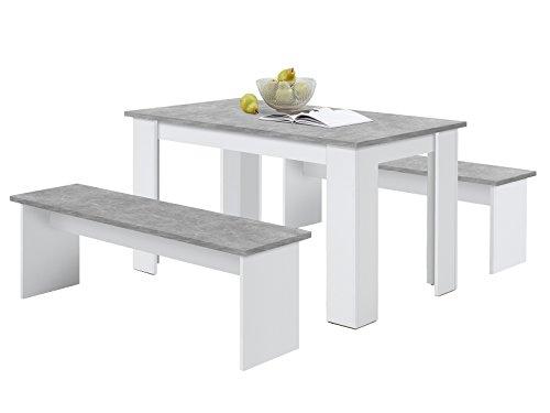 möbelando Tischgruppe Essgruppe Sitzgruppe Esszimmerset Tischset Esszimmermöbel Dora I Weiß/Beton LA