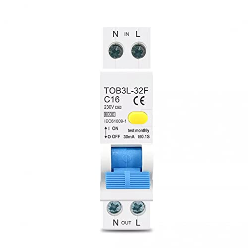 LUOXUEFEI Disyuntor Diferencial Interruptor 230V 50 60Hz 1P N 6Ka Disyuntor Automático Diferencial De Corriente Residual Con Protección Contra Fugas De Sobrecorriente