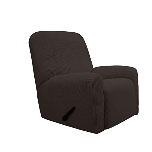 PureFit Stretch Recliner Sofa Slipcover with Pocket with Pocket – Spandex Jacquard Non Slip Soft Couch Sofa Cover, Washable Furniture Protector with Elastic Bottom for Kids (Recliner, Chocolate)