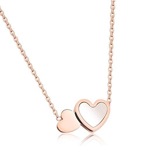 collar Collar De Color Oro Rosa De Acero Inoxidable Para Mujer, Collar De Gargantilla De Doble Corazón Simple Romance, Regalo Femenino
