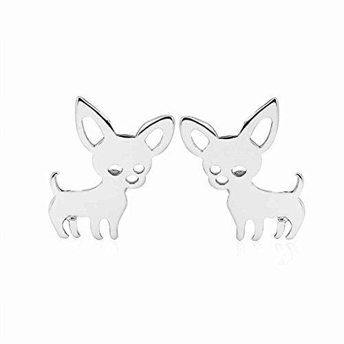 forbestest Oído mujeres Pequeño Chihuahua pendientes perro mascota hembra aleación Pendientes Animal pernos prisioneros de las niñas