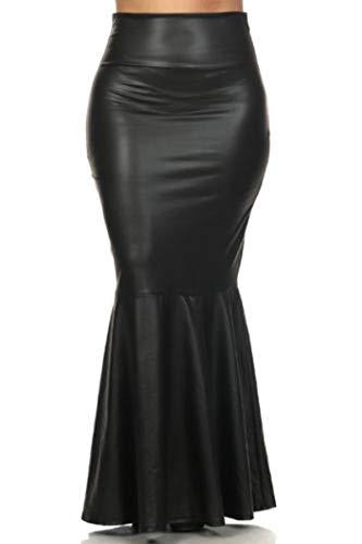 917 - Plus Size Faux Leather Pleated High Waist Maxi Mermaid Skirt (1X, Black)