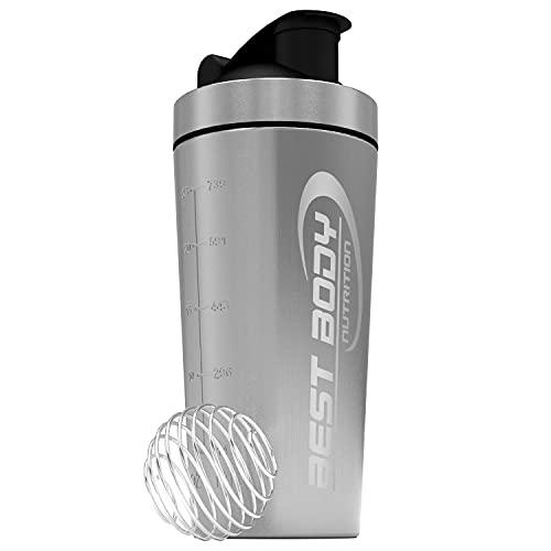 Best Body Nutrition Edelstahl Eiweiß Protein Shaker mit integrierten Sieb und Spiralball - Silber