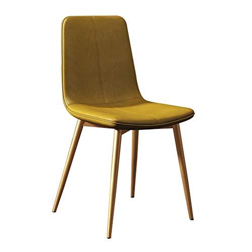 Makeupstolar Matsalstolar Kökstol Lounge Barstol PU Läder Bekväm Pad Seat Metal Legs för modernt vardagsrum (Color : Yellow)