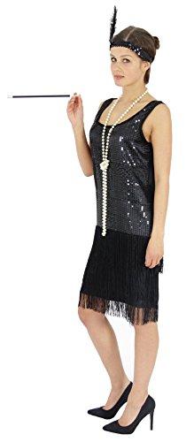 Foxxeo 40204   20er Jahre Damen Kleid Charleston Kostüm Mafia 20s Flapper schwarz, Größe:XXL