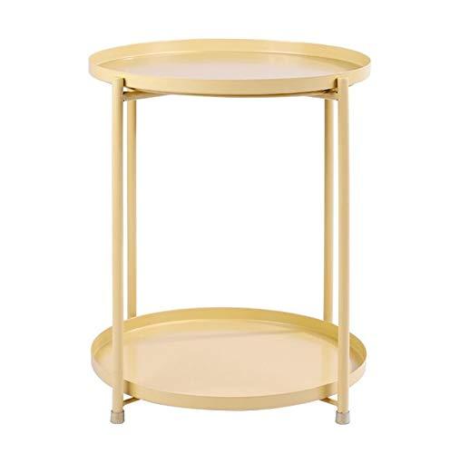 Jcnfa-side tafellade metalen eindtafel, bijzettafel ronde lade, afneembare lade buiten & binnen drank, Snack koffietafel, telefoon tafel,3 kleuren,2 lagen