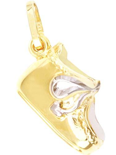 Babyschuh Anhänger (Ohne Kette) Gelbgold Weißgold 333 Gold (8 Karat) 20mm x 7mm Kettenanhänger GoldanhängerBaby Shoe A-03621-G361
