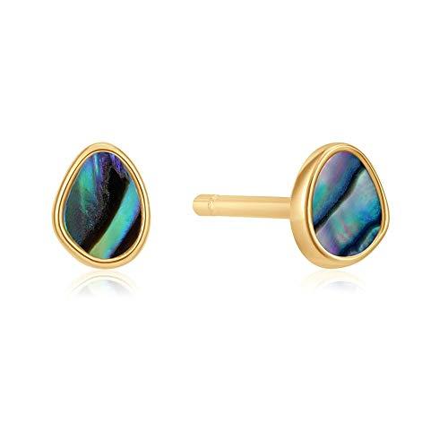 Pendientes Ania Haie plata Ley 925m chapada oro 14k colección Turning Tides abulón lágrima irregular