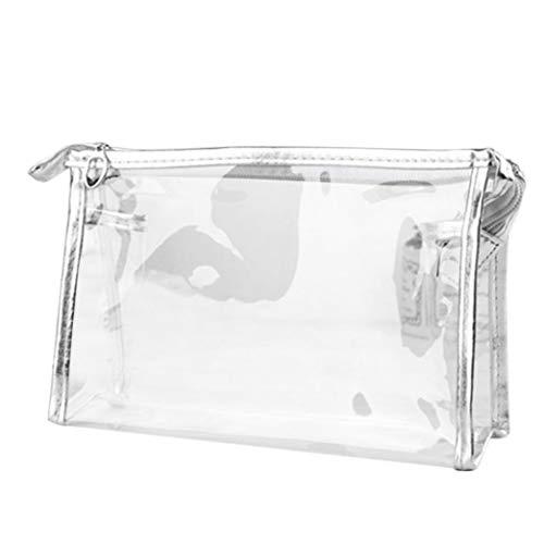 Hukz Kosmetiktasche transparent,Kulturtasche zum Abfüllen von Flüssigkeiten im Handgepäck, Tasche Flugzeug, Flug Reise Set, Reiseset, Beutel, Waschtasche (Silver)