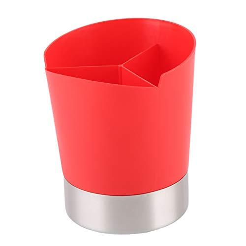 FLAMEER Küchenutensilienhalter Besteckhalter Strohhalme Box Strohhalmspender Trinkhalm Aufbewahrungsbox - rot