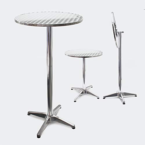 Mesa de bar Bistro Aluminio Plegable Altura regulable 74/114cm Ø60cm Exterior Terraza Hostelería