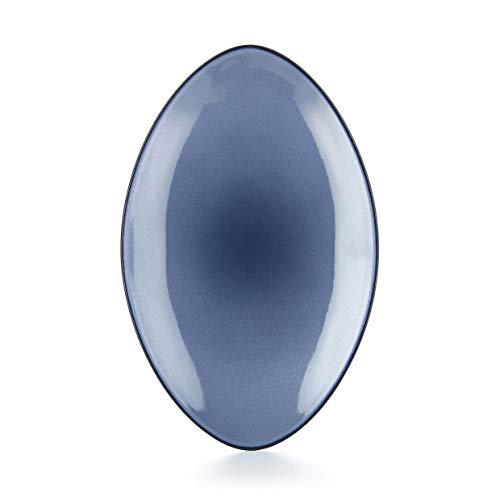 Revol - Assiette ovale en céramique - Bleu Cirrus Couleur - Bleu Cirrus, Tailles - 35 x 22,3 x H. 4 cm