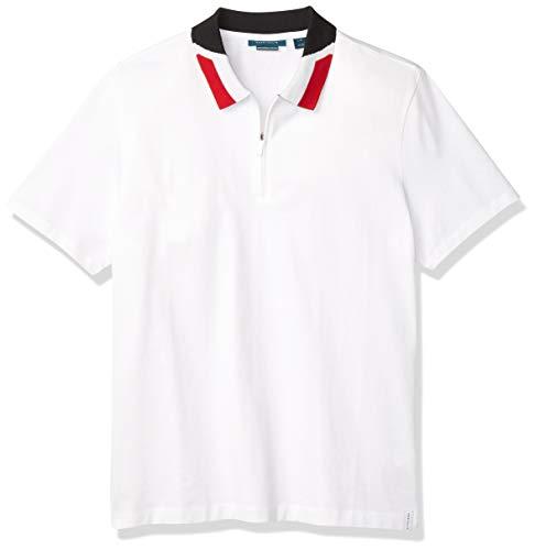 Perry Ellis Men's Quarter Zip Short Sleeve Polo Shirt, Bright White, Small
