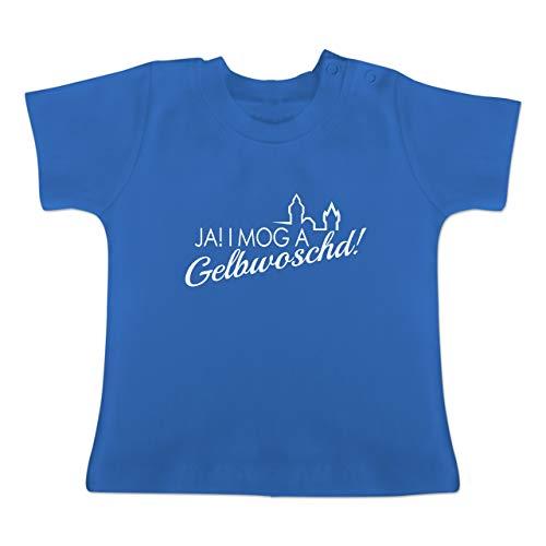 Städte - Ja! I mog a Gelbwoschd Franken Hommage - 3/6 Monate - Royalblau - BZ02 - Baby T-Shirt Kurzarm
