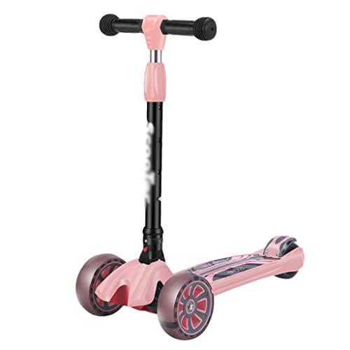 ZHIHUI Scooter Patinete Patee Scooter para Niños de 2 A 12 Años De Edad Freno de la Rueda Trasera Magra A Steer PU Flashing Wheels Scooter Ajustable Manillar Scooter (Color : Pink)