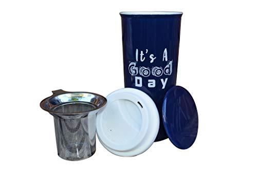 16oz Ceramic Travel Mug with Lid. Blushers Double-Walled Tea Cup set. Tall Coffee and Tea Mug Single Steeps Tea Cups Loose Leaf Tea - Tea Mugs Tea Steeper (Marina Ceramic Tea Cup Set)
