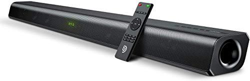 Barra de Sonido 2.0 Canales, BOMAKER Potencia 120 W, 110 dB, con Subwoofer Incorporado, Dispositivo Inalámbrico Bluetooth 5.0, para TV, Cine en Casa, HDMI Óptico, 3,5 mm AUX, USB, ODINE III