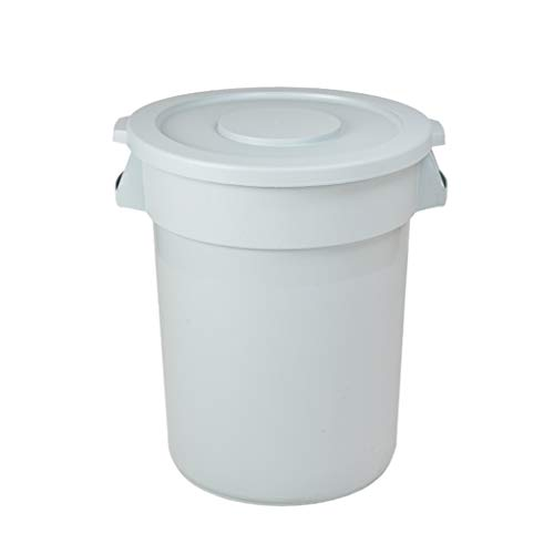 Trash CAN-Q QFF grijze plastic afvalemmer, ronde afvalemmer 76 liter, commerciële vierkante gemeentelijke afvalemmer voor binnen en buiten met deksel Praktisch