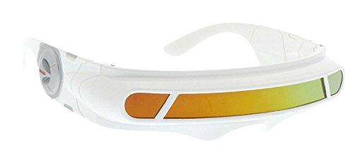 WebDeals - Futuristic Cyclops Wrap Around Monoblock Shield Sunglasses (White, Red/Orange Revo)