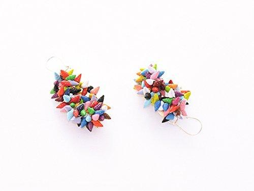 Pendientes Laxe joya original de conchas naturales pintadas a mano.