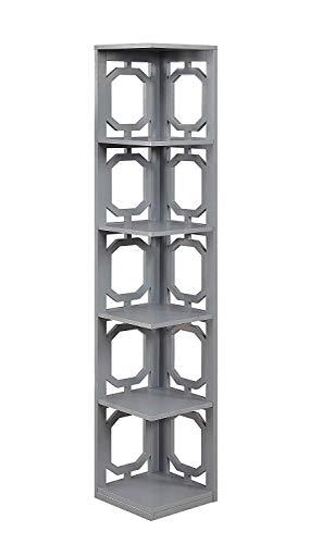 Convenience Concepts Omega 5 Tier Corner Bookcase, Gray