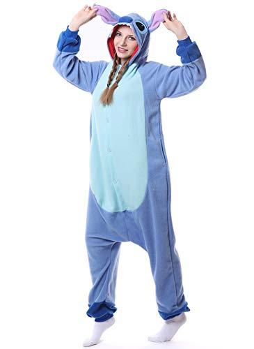 Chenrry Pyjamas Tieroutfit Schlafanzug Snorlax Tier Onesies Weihnachten Sleepsuit mit Kapuze Erwachsene Unisex Overall Halloween Kostüm Stitch M