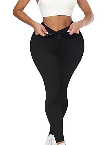 OUTUOSI - Leggings sportivi da donna, a vita alta, a compressione, senza cuciture, per corsa, modellanti, allenamento, yoga, pantaloni, Nero , S