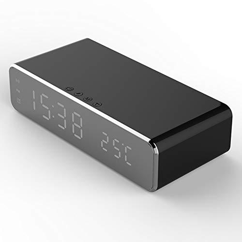 Lilon Reloj Despertador eléctrico LED con Cargador de teléfono Termómetro Digital de Escritorio inalámbrico Reloj Reloj HD Espejo con Memoria de Tiempo