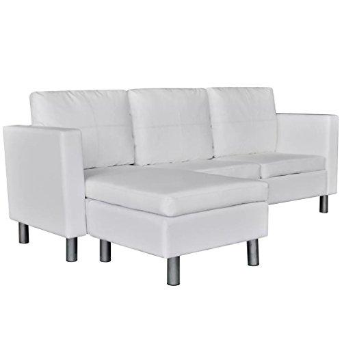 Canapé d'angle 3 places Blanc Cuir