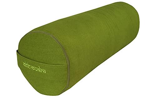 Chin Mudra Bolster–di Yoga 100% Cotone bio 65cm x 23cm, Verde