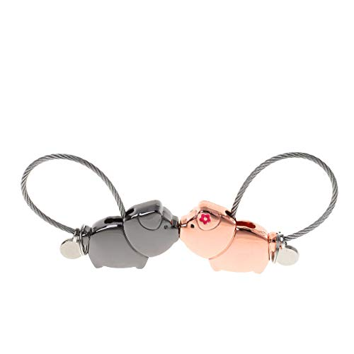 niumanery Mini Novelty Lucky Pig Couples Lock Padlock Security Lock No Keys No Password Cute Lover Piggy Keychain Pendant Decor