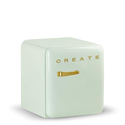 IKOHS, Retro Fridge GOLD - Frigorifero di design, controllo della temperatura regolabile, stile vintage anni '50, classe energetica A+ (verde, 50 cm)