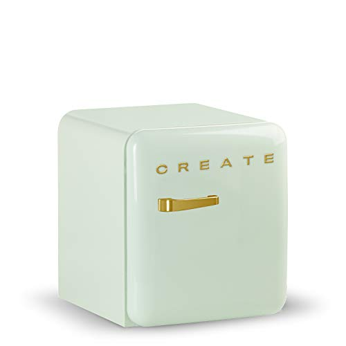 CREATE Retro Fridge GOLD- Frigorífico con diseño, Control de Temperatura Ajustable, Estética Vintage, Clase Energética A+ (Verde, 50 cm)