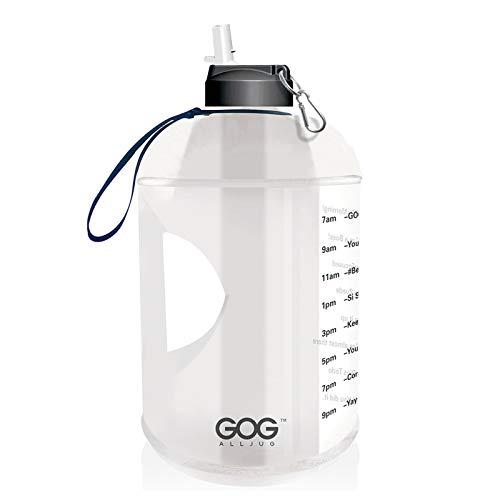 Haonan Botella de agua de galón con marcador de tiempo y pajita motivacional jarra de agua libre de BPA botellas de agua grandes a prueba de fugas