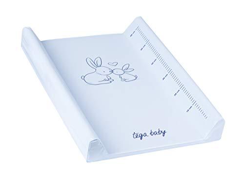 Matelas plan à langer luxe pour bébé 50 X 70 cm, Motif:Lapins - blanc