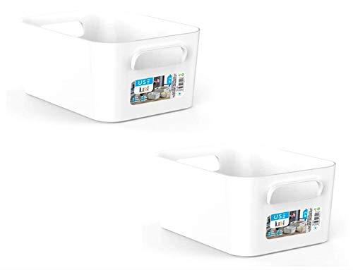 TIENDA EURASIA Cajas de Almacenaje con Asas - Organizadores de Plástico Multiusos - Ideales para baño, cocina, salón, dormitorio (Opaco Blanco, 2 Cajas - 25,5 x 17 x 11 cm - 3,6 L)