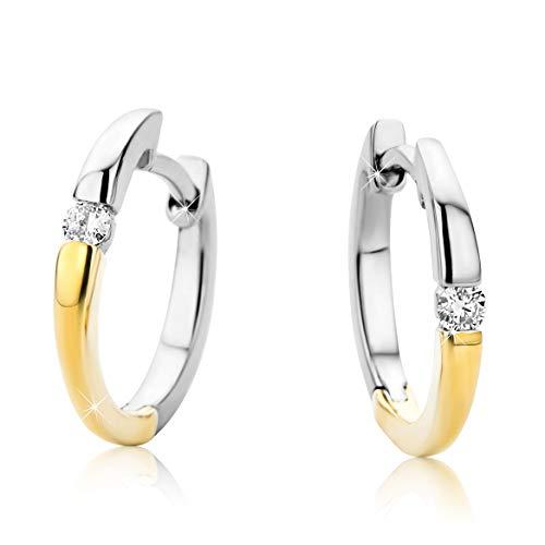 Orovi Schmuck-Krone - Pendientes de aro para mujer con diamantes de 14 quilates (585), dos colores, oro blanco y oro amarillo (0,07 quilates)