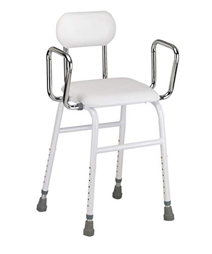 Multi use Perching Stool - adjustable height with removeable armrests and padded seat and back