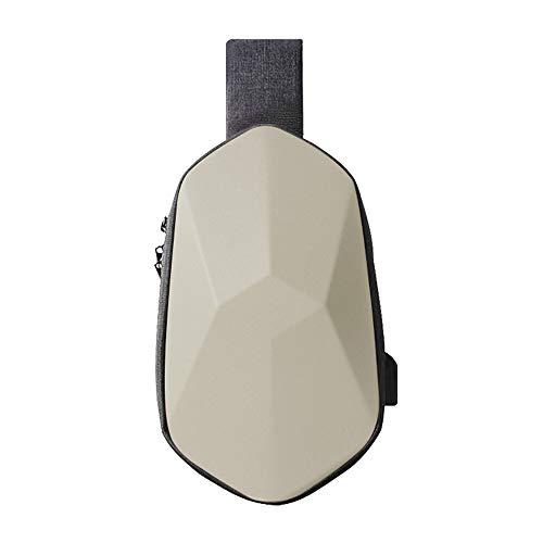 TAJEZZO Anti-Diebstahl Polyedral Sling Chest Bag Wasserdicht Crossbody Rucksack Leicht Casual Daypack Radfahren Schultertasche mit USB-Anschluss für Damen und Herren (Off-White)