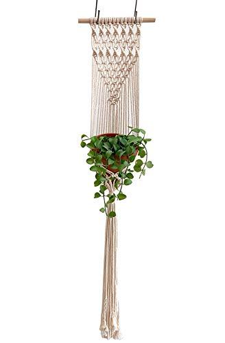 Makramee Blumenampel Hängepflanze Blumenampel Makramee Baumwollseil Boho Deko für Innen Mauer Decken Wanddekoration Beige