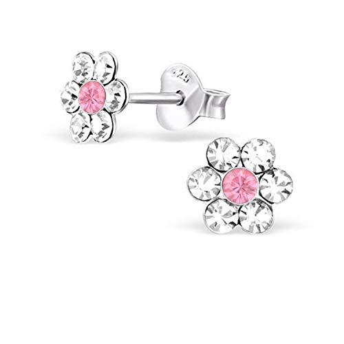 Kristall Blume Ohrstecker 925 Echt Silber Ohrringe Kinder Mädchen Geschenkidee (Kristallklar-Rosa)