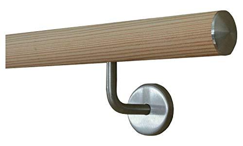Lärche Handlauf Treppen Geländer Handläufer 30-500 cm aus einem Stück mit Halter Stützen Träger und bearbeiteten Enden 410 mit 5 Halter leicht gewölbte Edelstahlkappe