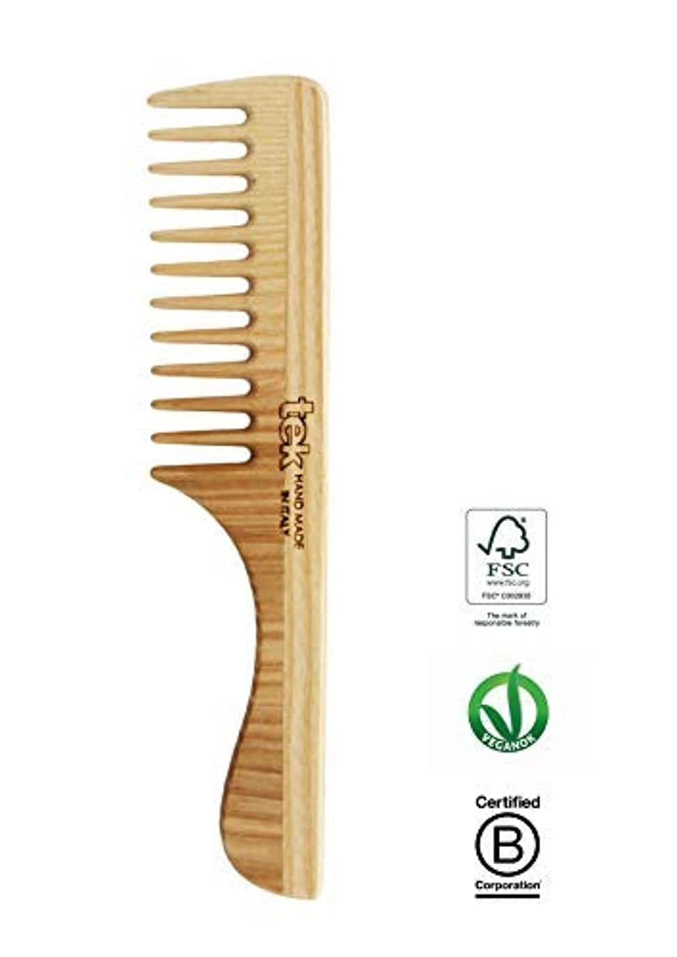 リッチ慣習自分を引き上げるTek hair comb in ash wood with wide teeth and handle - Handmade in Italy [並行輸入品]