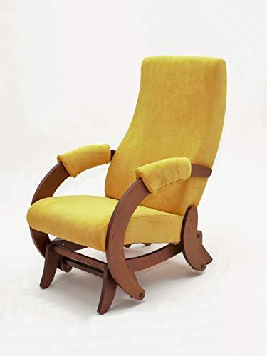 Rodnik Schaukelsessel Glider Stillsessel Relaxsessel Schaukelstuhl Stillstuhl (Walnut Verona Yellow)