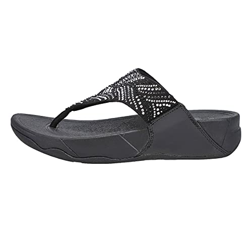FitFlop Women's Lulu Crystal Feather Original Fit Toe-Post Wedge Sandal, All Black, 10