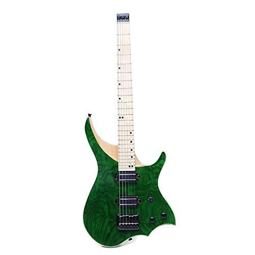 HUANH 24 trastes verde ASH Cuerpo de madera Maple Neck Solid Flame...