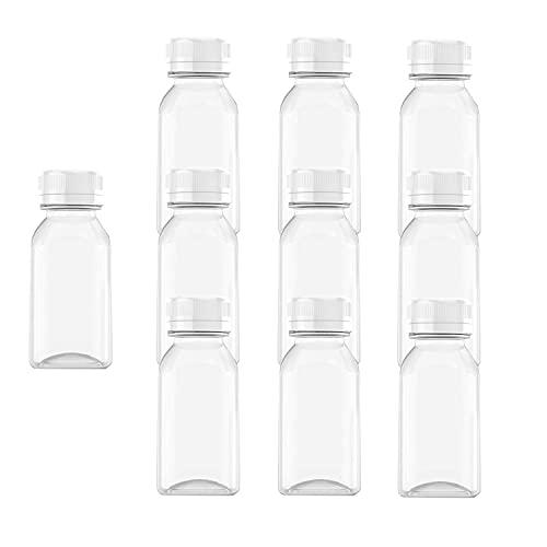 AQSXO 4 OZ Plastic Juice Bottles, Reusable Bulk Beverage Containers, Comes White lid, for Juice, Milk and Other Beverages, 10 Pcs. (0.375 Ounce Bottles)