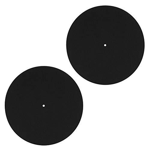 AMONIDA Paquete de 2 Placas Giratorias Mat Felt Slipmat Antiestático para Reproductores de Discos de Vinilo LP, 3 Mm